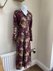 ST MICHAEL VINTAGE DRESS 14 Extra Long Midi Tea Dress Wine Floral Buttons Collar