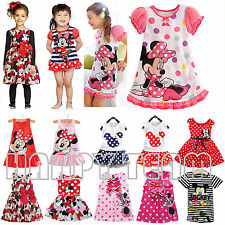 Kids Baby Girls Mickey Minnie Mouse Party Dress Summer Skirt Toddler Clothes