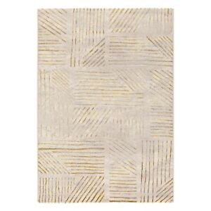 Lustrous Woven Soft Dense Modern Rugs Striped Gold Design Luxury New Large