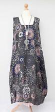 LAGENLOOK LINEN OVERSIZED BEAUTIFUL PRINT 2 POCKETS DRESS**CHARCOAL**SIZE XL-XXL