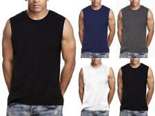 Mens Gym Muscle Tank Top Sleeveless T-Shirt Heavy 100% Cotton Workout fitness