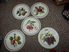 """Portmeirion Pomona Starter/Salad Plates 8.5"""" Diameter Mostly Leaf-Rimmed"""