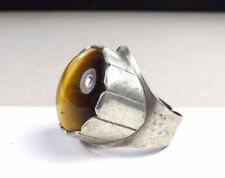 Old Israel Sterling Silver Tigers Eye Mens Unisex Mid Century Adjustable Ring