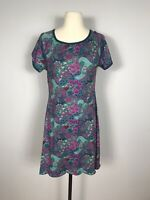 Title Nine Teal and Pink Floral Print Short Sleeve Athletic Dress Women's S