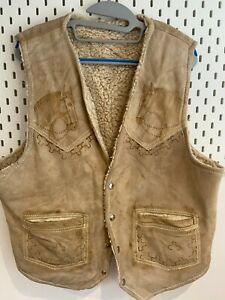 Vintage Mens Gilet Large Leather Distressed Fawn with Horse print design