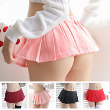 Womens Pleated Mini Skirt Schoolgirl Micro Short Dress Cosplay Club Costume