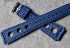 Soft rubber 20mm blue vintage divers waffle-finish watch strap 1960s old stock