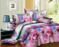Duvet Cover Set 3D Floral Print Bed Set Fitted Sheet Pillow Case Double/King