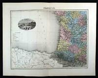 1880 Migeon  Map - SW France - View of Bordeaux