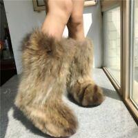 Women Winter Luxury Fluffy Genuine Original Raccoon Fur Warm Eskimo Long Boots