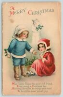 Clapsaddle Christmas~Victorian Boy & Girl Exchange Gifts~Snowman Watches~WOLF