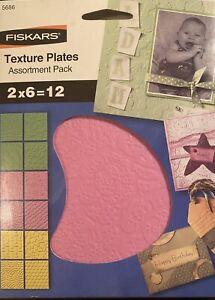 Fiskars Texture Plates  Prägeplatten 2x6 = 12 Stück  Set Prägeschablonen