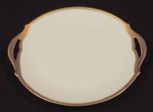 Limoges Union Ceramique 10in handled serving plate gold trim open handles France