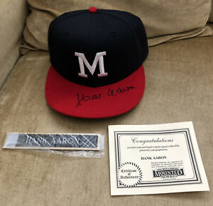 Hank Aaron Signed Milwaukee Braves Hat Cap Autographed AUTO COA LOA HOF