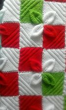 Hand Knitted Xmas Leaves Baby Blanket. New. Gift