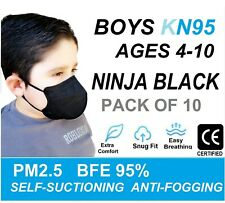 10 Pack KIDS KN95 Face Mask Disposable Mouth Cover Children AGES 4-10 Boys BLACK