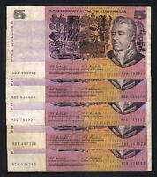 Australia R-202. (1967) Five Dollars - Coombs/Randall x 5 Notes.  aF-F+