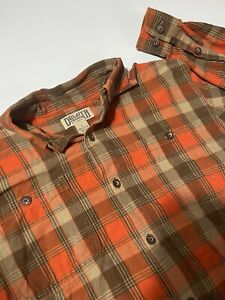 Duluth Trading Mens Orange & Brown Flannel Long Sleeve Shirt Button Front Large