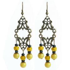 Boucles D'oreilles pendante ethnique chandelier long bois jaune abeille et noir