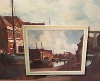 Kanalhäuser, Schiffe in Belgien, Brüssel. Original Ölgemälde, signiert M. HOPP