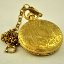 Luxury Antique Copper Mechanical Pocket Watch Hand Wind Roman Numerals Men Gifts