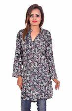 Indian Women Ethnic Top Tunic 100% Cotton Floral print blue color 4XL 5XL 6XL