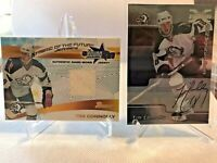(2) LOT 2001-02 Tim Connolly Buffalo Sabers Autograph & Game Used Jersey Cards