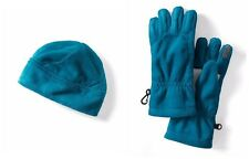 LANDS' END Girls' S Mosaic Teal Plush Fleece Hat & Gloves NWT