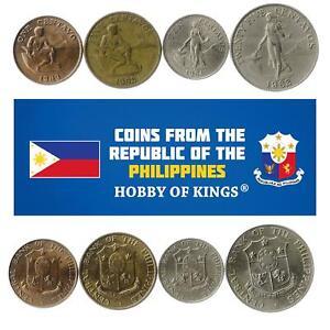 Set 4 Coins Philippines 1 5 10 25 Centavos 1958 - 1966
