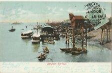 1908 RANGOON HARBOUR BURMA postcard sent f Colaba Bombay India anna stamp Mumbai