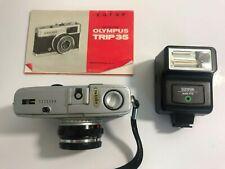 Vintage Olympus Trip 35 Camera Sunpack Flash Instruction Book & Brown Hoya Bag