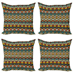 Ambesonne African Theme Cushion Cover Set of 4 for Couch and Bed in 4 Sizes