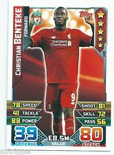 2015 / 2016 EPL Match Attax Base Card (140 Christian BENTEKE Liverpool