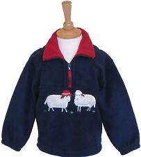Childs navy fleece with two sheep on
