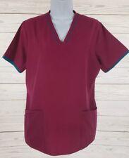 Sb Scrub Top Sz Small Women Pink Deep Orchard Blue Trim Tie Back Medical Nurse