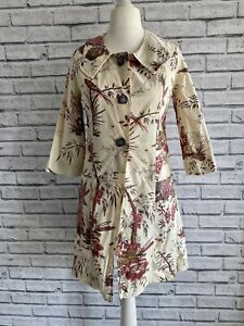 Vintage Cream Tapestry Print Coat Lightweight Size 10 - Unique Quirky