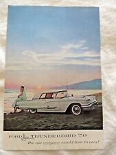 Vintage 1959 White Ford Thunderbird Print Ad Couple at Shore Scene  #8658