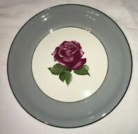 HARKER POTTERY CO. HTF HAR94 DINNER PLATE PINK ROSE GRAY BAND 22KT PLAT TRIM EUC