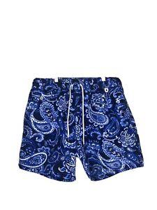 Polo Ralph Lauren Swimwear Water Shorts Blue Paisley Bandana Sz 2XB BIG Men's