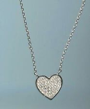 925 STERLING SILVER, 40 POINTS TW MICRO PAVE RUSSIAN CZ HEART NECKLACE