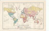 c. 1890 STATE FORMS in the WORLD Antique Map