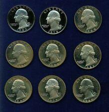 U.S.  1979-1986  WASHINGTON PROOF QUARTERS, LOT OF (9)