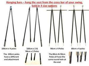 Metal Poles to Hang Garden Swing seat to Frame - 3 sizes available BLACK