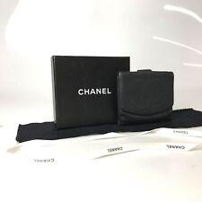 CHANEL W hook wallet caviar skin black used 1238-11Z56