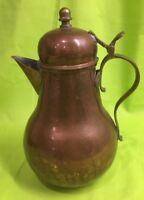 "Antique Vintage Copper & Brass  Pitcher w/ Handle And Lid 8-3/4"" Old China Mark"
