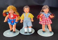 """3 Vintage Open Close Eyes 3"""" Plastic Dolls Made in Western Germany"""