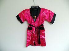 Thai Silk-Blend Child's Robe Kimono Dark Pink Reversible Dragon/Unisex - S (New)