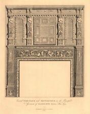 OLDBOURNE HALL, Shoe Lane, Holborn. Carved Fireplace & mantlepiece 1834 print