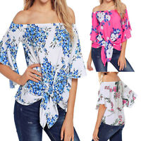 Women's Off Shoulder Front Tie Knot 3/4 Bell Print Sleeve T Shirt Tops Blouse