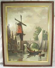 Vintage Painting Sailboat Windmill Bridge Holland Wood Framed 1966 G. Klein